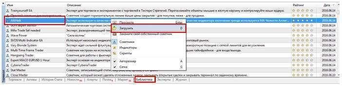 Процесс поиска и загрузки советника в терминале MT4